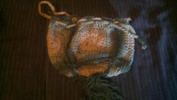CROCHETED DRAWSTRING BAG