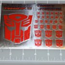 Transformers G1 Autobot Symbol Sticker Decal Sheet