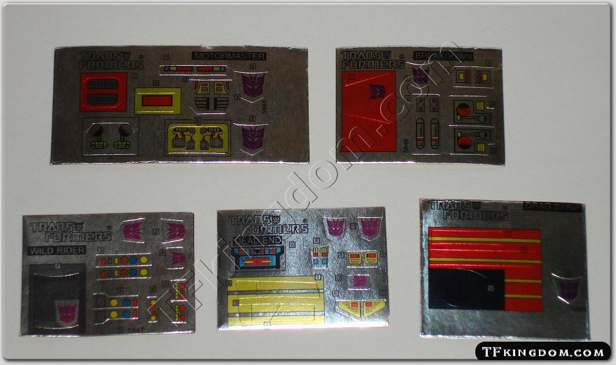 Transformers G1 Menasor Set Sticker Decal Sheet