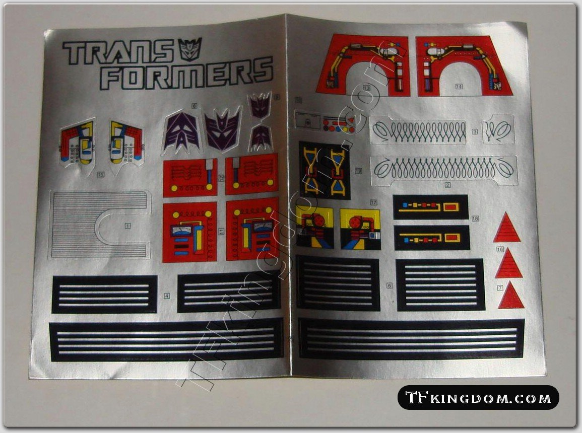 Transformers G1 Megatron Sticker Decal Sheet