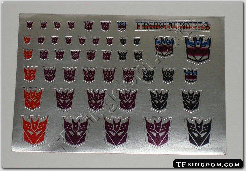 Transformers G1 Decepticon Symbol Sticker Decal Sheet 2