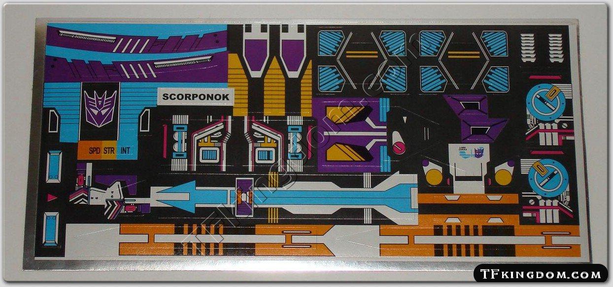Transformers G1 Scorponok Sticker Decal Sheet