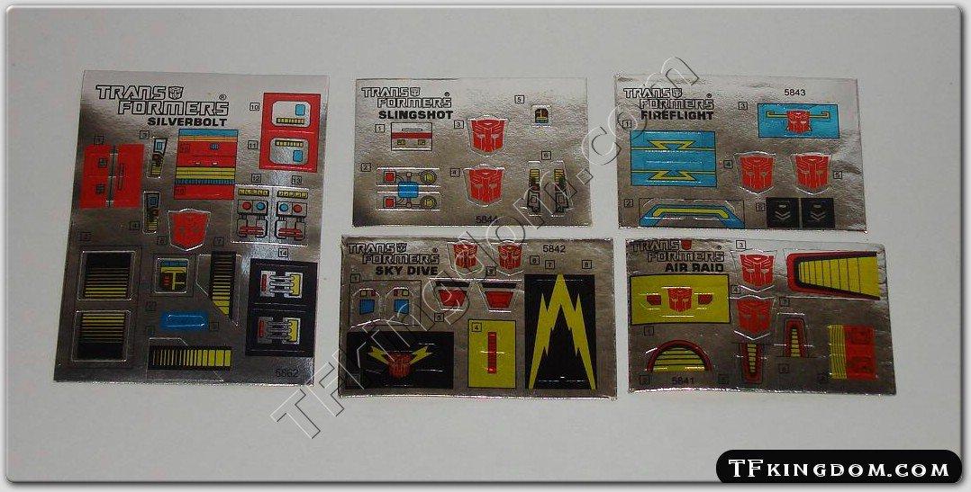 Transformers G1 Superion Set Sticker Decal Sheet