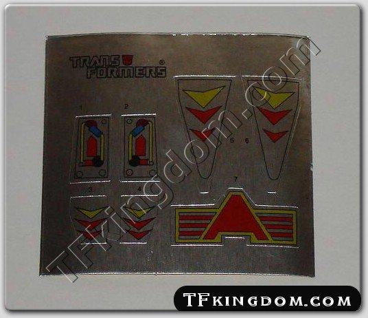 Transformers G1 Hot Rod Sticker Decal Sheet