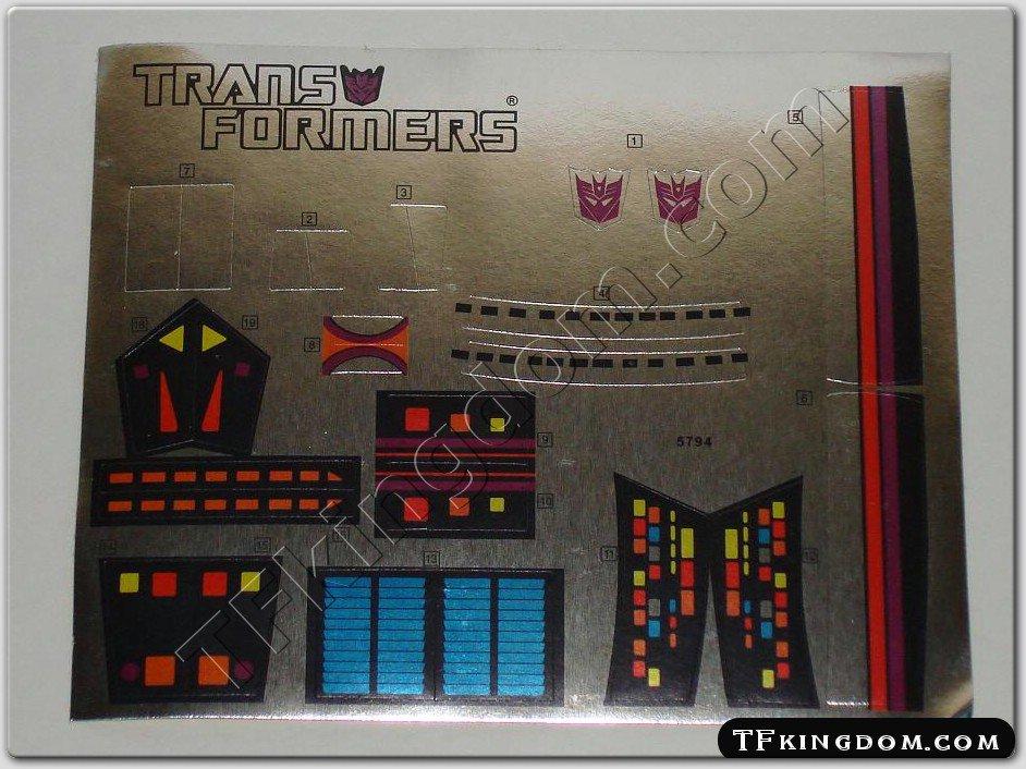 Transformers G1 Galvatron Sticker Decal Sheet