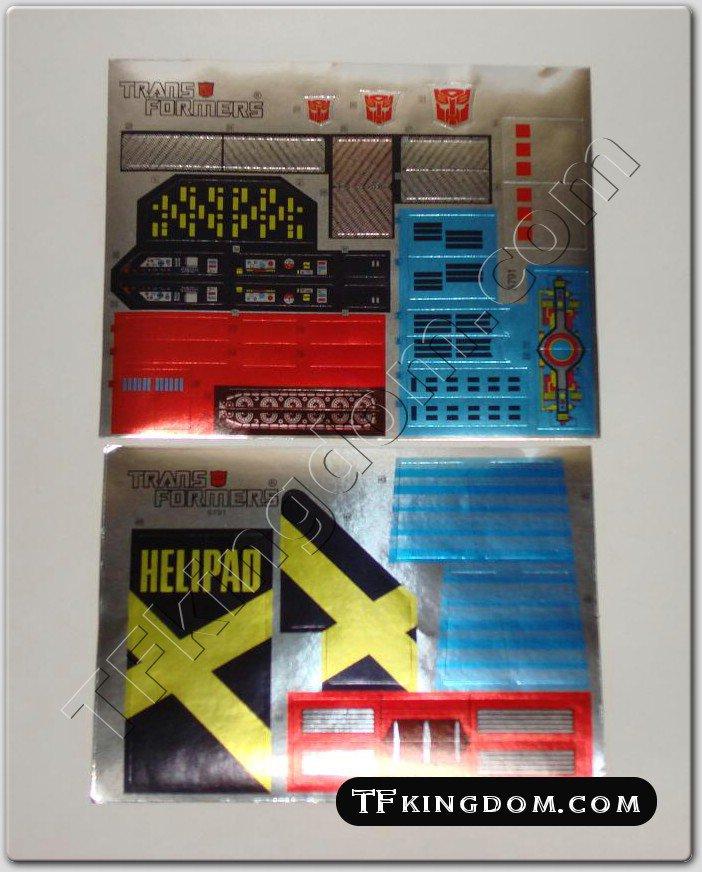 Transformers G1 Metroplex Full Set Sticker Decal Sheet