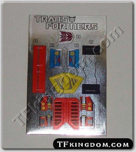 Transformers G1 Bombshell Sticker Decal Sheet
