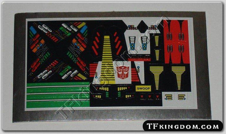 Transformers G1 Swoop Sticker Decal Sheet