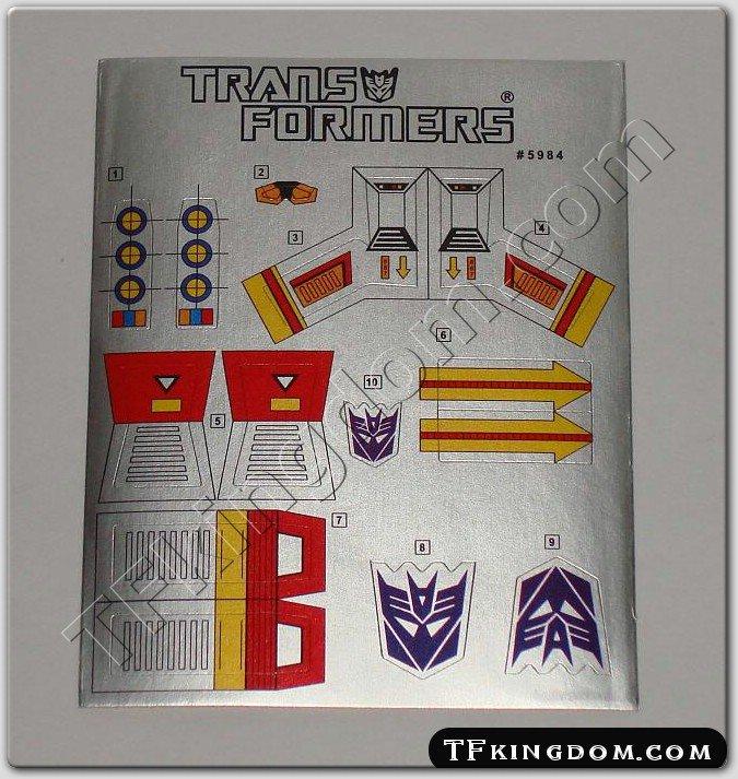 Transformers G1 Ramjet Sticker Decal Sheet