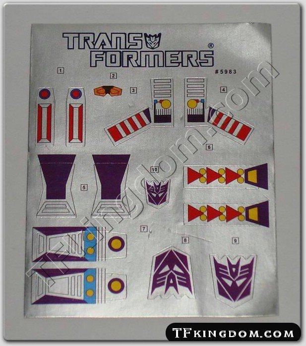 Transformers G1 Skywarp Sticker Decal Sheet