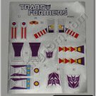 Transformers G1 Skywarp Sticker Decal Sheet