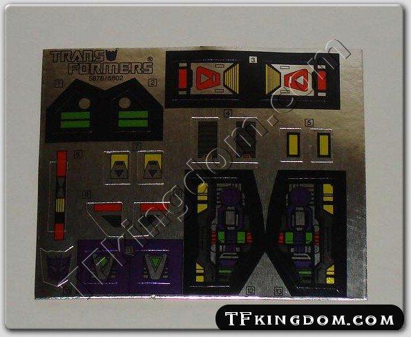 Transformers G1 Apeface Sticker Decal Sheet