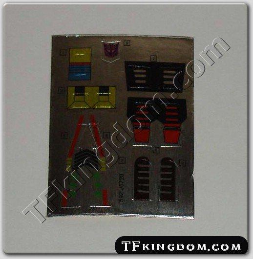 Transformers G1 Kickback Sticker Decal Sheet