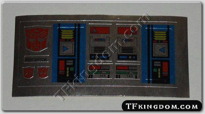 Transformers G1 Perceptor Sticker Decal Sheet
