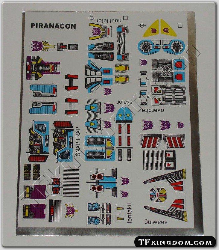 Transformers G1 Piranacon Sticker Decal Sheet