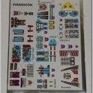 Transformers G1 Piranacon Sticker Decal Sheet
