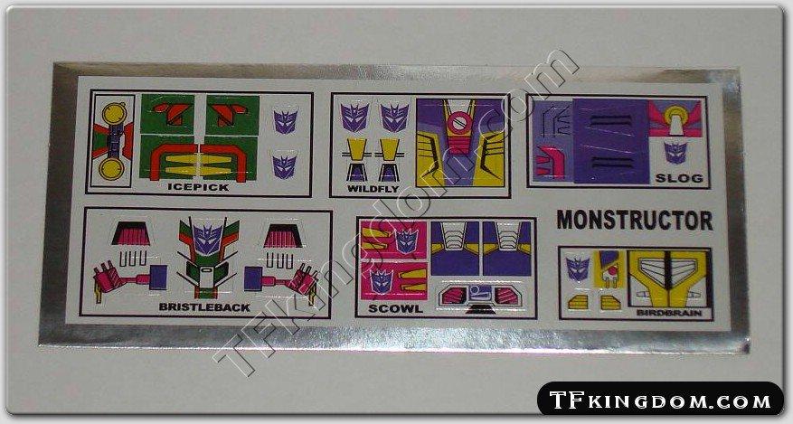 Transformers G1 Monstructor Sticker Decal Sheet