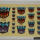 Transformers G1 Autobot Decepticon Symbol Sticker Decal Sheet