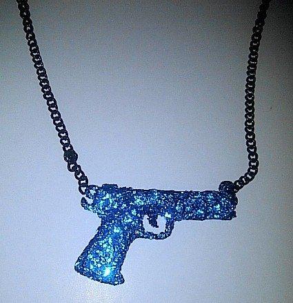 Blue Sparkle Gun Necklace