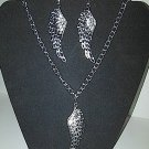 Wing Necklace & Earring set (silver)