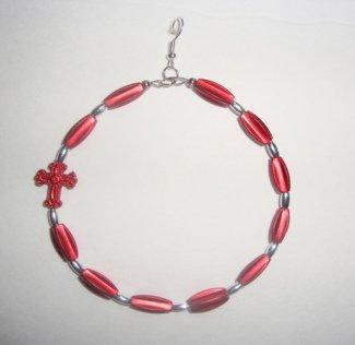 Red Bead Earrings with Cross Charm
