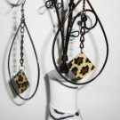 Teardrop Hoops with animal print charm