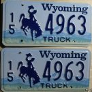 Wyoming license plate pair Truck 15-4963 Hot Springs