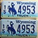 Wyoming license plate pair Truck 15-4953 Hot Springs