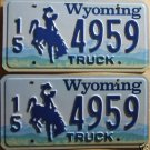 Wyoming license plate pair Truck 15-4959 Hot Springs