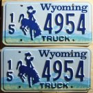 Wyoming license plate pair Truck 15-4954 Hot Springs