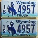 Wyoming license plate pair Truck 15-4957 Hot Springs