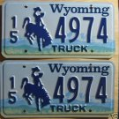 Wyoming license plate pair Truck 15-4974 Hot Springs