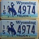 Wyoming license plate pair Truck 15-4974 Hot Springs