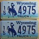 Wyoming license plate pair Truck 15-4975 Hot Springs