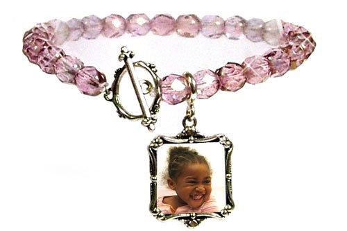 Sterling Silver Charm, Rose Crystal Bead Bracelet