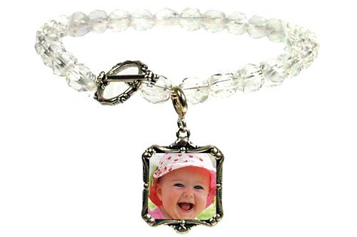 Sterling Silver Charm Clear Crystal Bead Bracelet,
