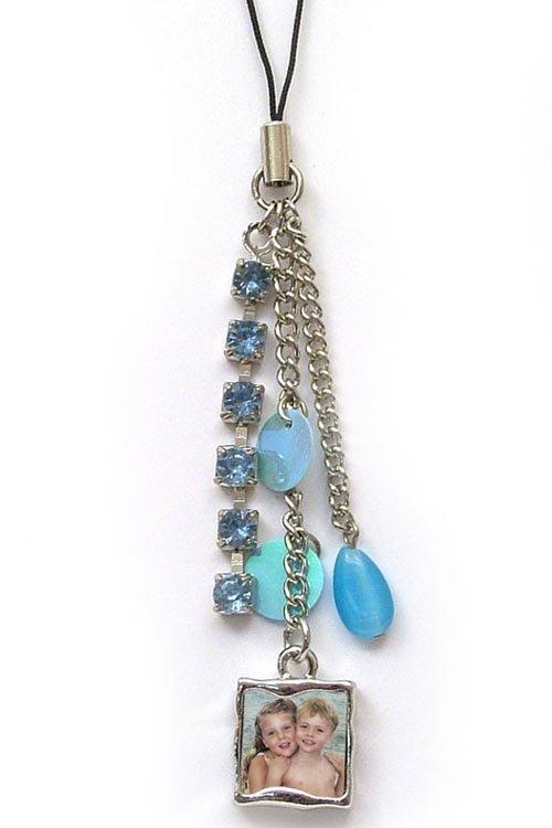 Cell Phone Charm - Blue Sparkle