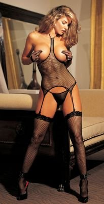 Plus Sized Sexy Fishnet Cupless Corset Thong Garter Stockings