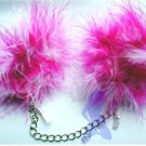 Pink Fuzzy Feather Elastic Cuffs