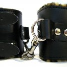 Leather Buckle Wrist Cuffs w/Cheetah Print Fur Bondage