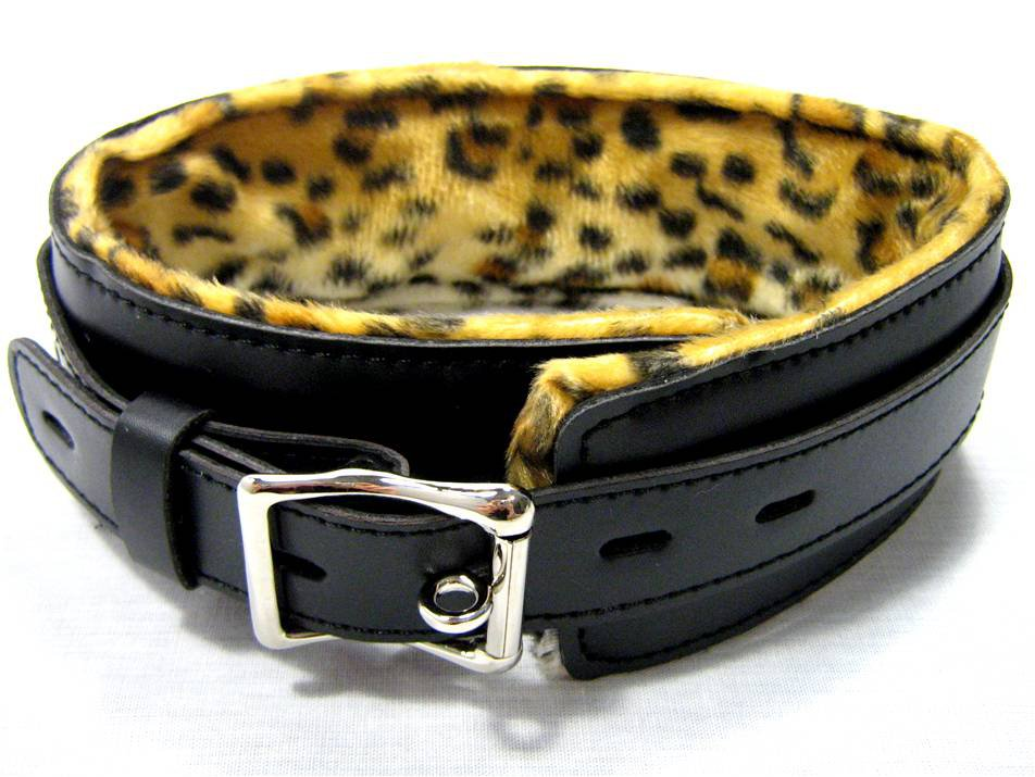 Black Leather Cheetah Print Lockable Collar Bondage