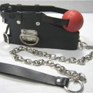 Black Leather Posture Collar w/Removable Ball Gag Leash