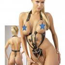 Leather Chain Crotchless Cupless Bondage Body Harness