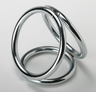 Three Metal Chrome Triple Cock Ball Ring Penis Enhancer- Medium Size