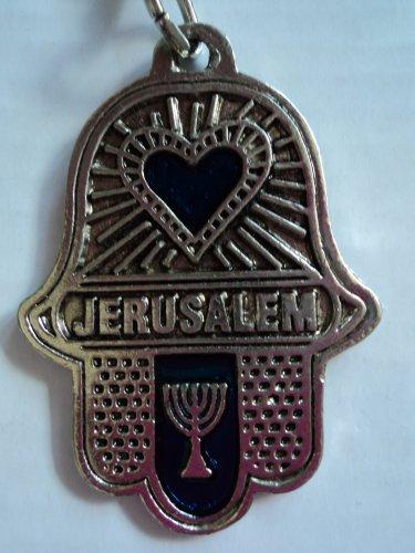 key chain heart hanukah  hamsa jerusalem blue evil eye judaica free shipping