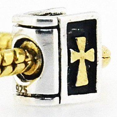 New handmade 925 sterling silver HOLY BOOK BIBLE 18ct GP cross charm bead European bracelet free