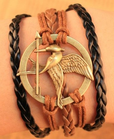 New Antique Friendship Infinity Hungry Game Bird Arrow Charm Leather Multilayer Bracelet