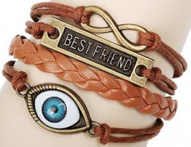 New Antique Friendship Infinity best friend blue Evil eye Charm Leather Multilayer Bracelet