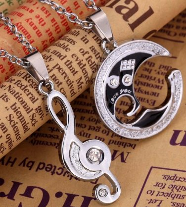 new Fashion 316L Stainless steel couple Puzzle Music Note love for him and her necklace FREE SHIP