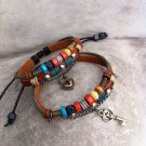 New Handmade set  leather Lock Key couple bracelets  WOOD BEAD for him and for her  FREE SHIPPING